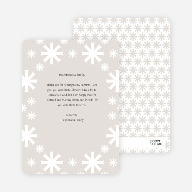 Note Cards: 'Crossing Crosses Baptism Invitation' cards. - Gray