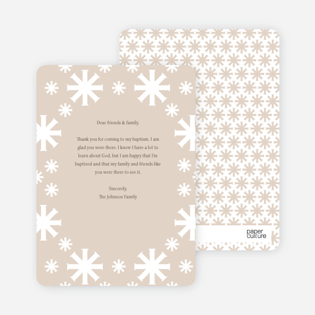 Note Cards: 'Crossing Crosses Baptism Invitation' cards. - Beige