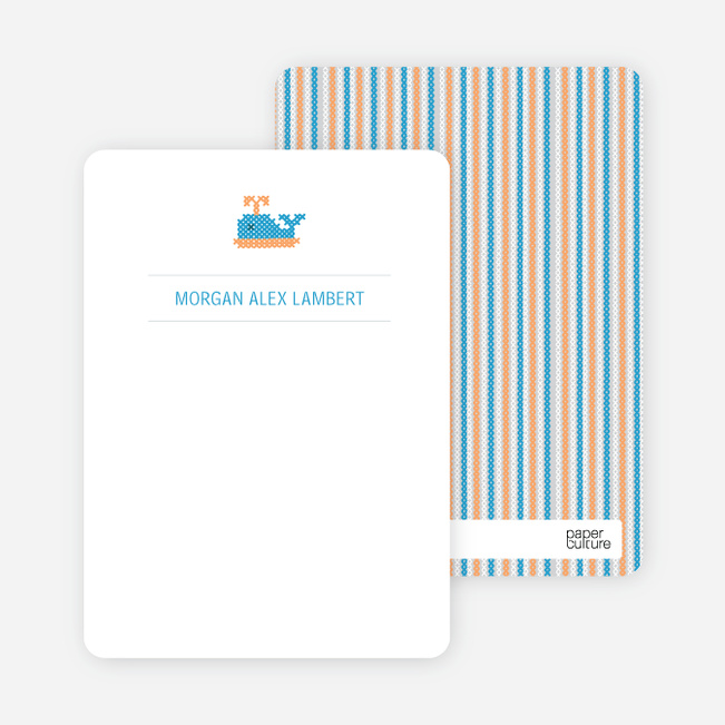 Note Cards: 'Quilted Whale' cards. - Pale Blue