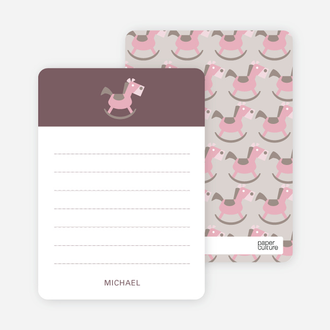 Note Cards: 'Rocking Horse Baby Announcement' cards. - Rust
