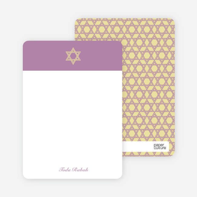 Note Cards: 'Simple Star of David' cards. - Lilac