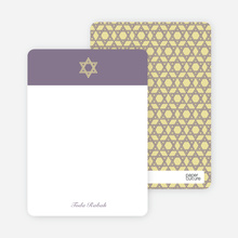 Note Cards: 'Simple Star of David' cards. - Light Eggplant