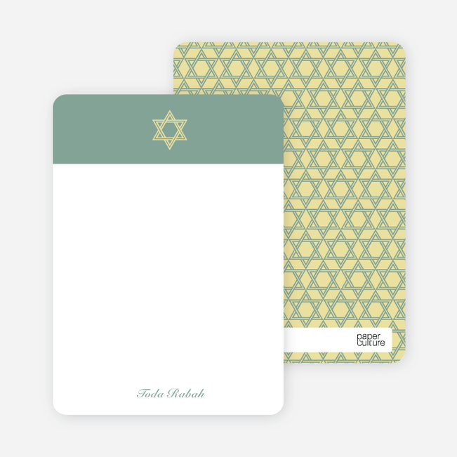 Note Cards: 'Simple Star of David' cards. - Celadon