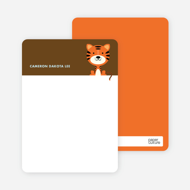 Note Cards: 'Tiger Birth Announcement' cards. - Carrot
