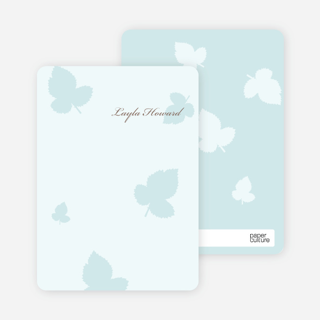 Notecards for the 'Elegant Leaves Bridal Shower' cards. - Ice Blue