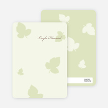 Elegant Leaves Bridal Shower Note Cards - Honeydew
