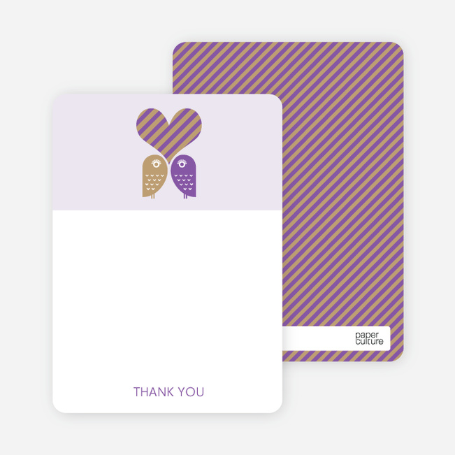 Notecards for the 'Owls in Love Bridal Shower' cards. - Grape
