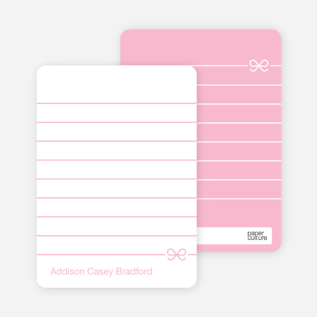 Notecards for the 'Pink Bow' cards. - Baby Pink