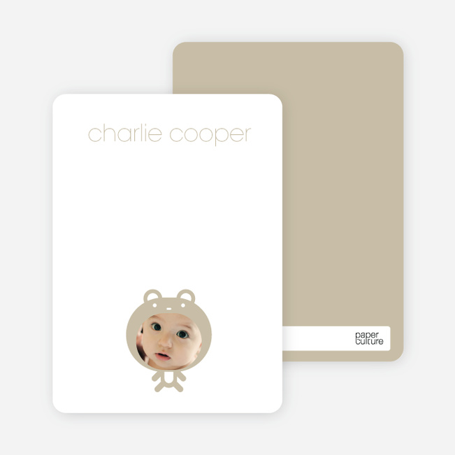 Personal Stationery for Baby in Cuddly Bear Outfit Baby Announcement - Champagne