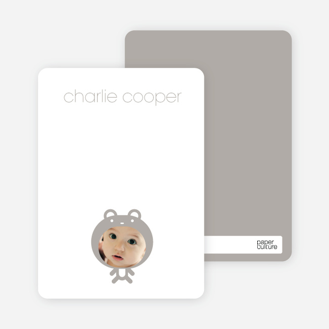 Personal Stationery for Baby in Cuddly Bear Outfit Baby Announcement - Silver Grey