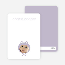 Baby Bear Announcement: Personal Stationery - Lavender