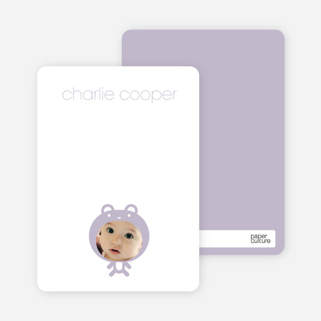 Personal Stationery for Baby in Cuddly Bear Outfit Baby Announcement - Lavender