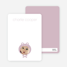 Personal Stationery for Baby in Cuddly Bear Outfit Baby Announcement - Tea Rose