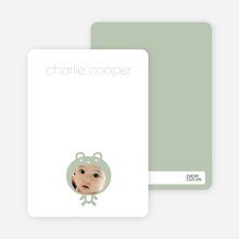 Personal Stationery for Baby in Cuddly Bear Outfit Baby Announcement - Sage
