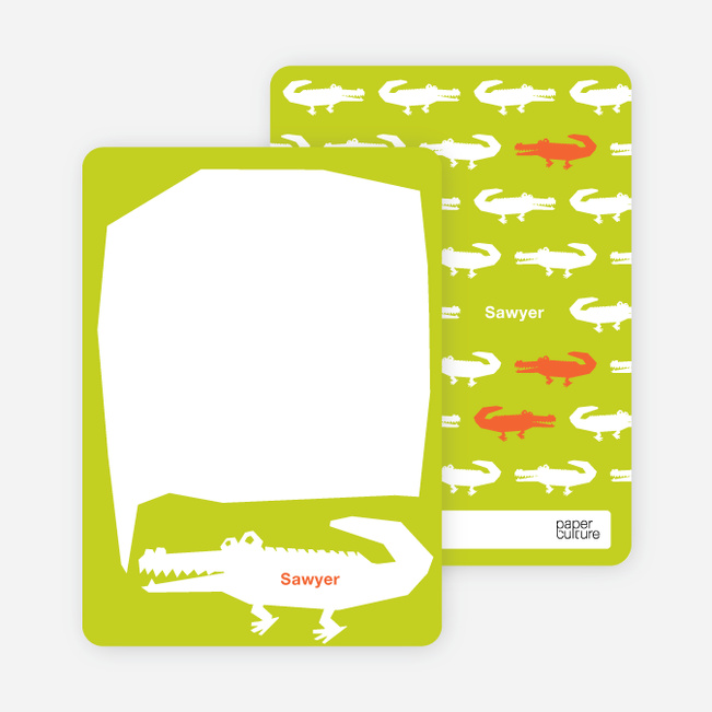 Personal Stationery for Later Alligator Modern Birthday Invitation - Chartreuse