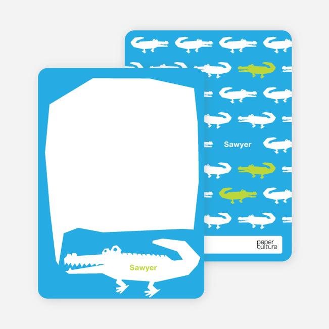 Personal Stationery for Later Alligator Modern Birthday Invitation - Royal Blue