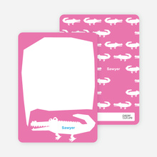 See You at the Party Alligator: Personal Stationery - Hot Pink