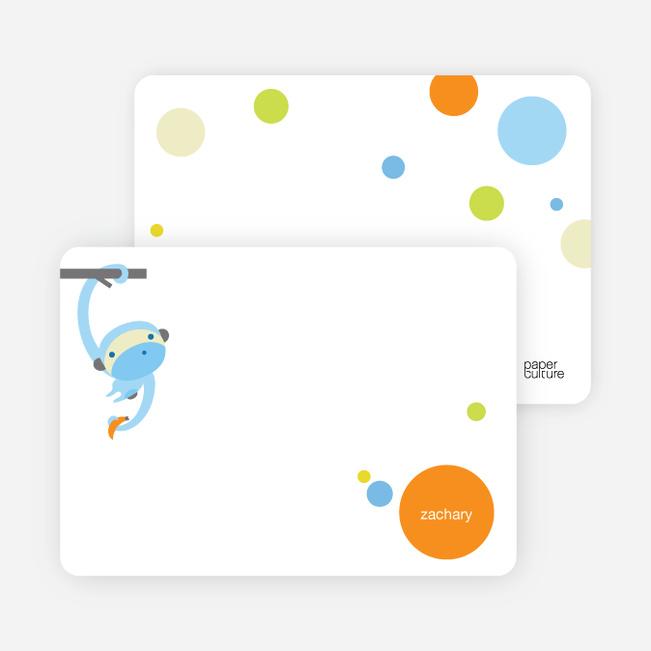 Personal Stationery for Monkey Business Modern Birthday Invitation - Azure