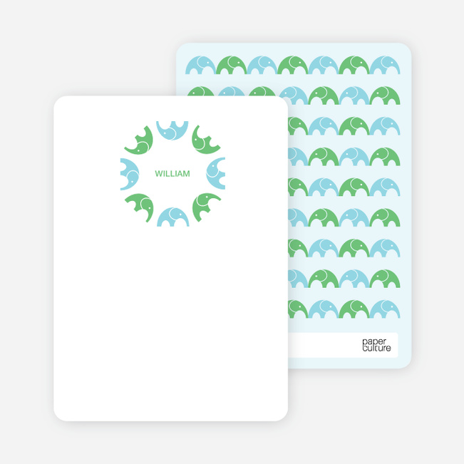 Personal Stationery for Simply Photos: Find the Elephant Modern Baby Announcement - Aquamarine
