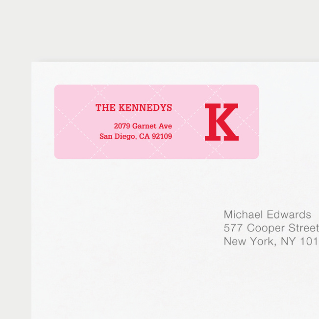 Plaid Return Address Labels - Pink