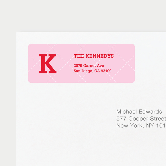 Plaid Return Address Labels - Pink
