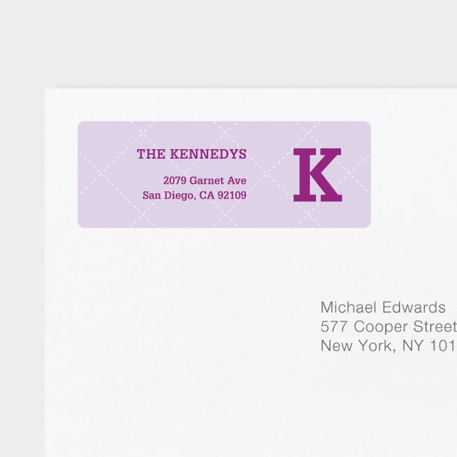 Plaid Return Address Labels - Purple