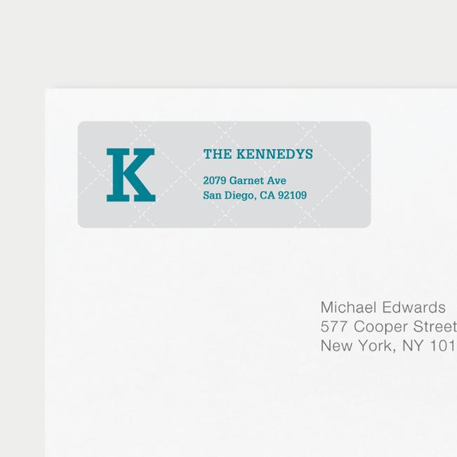 Plaid Return Address Labels - Gray