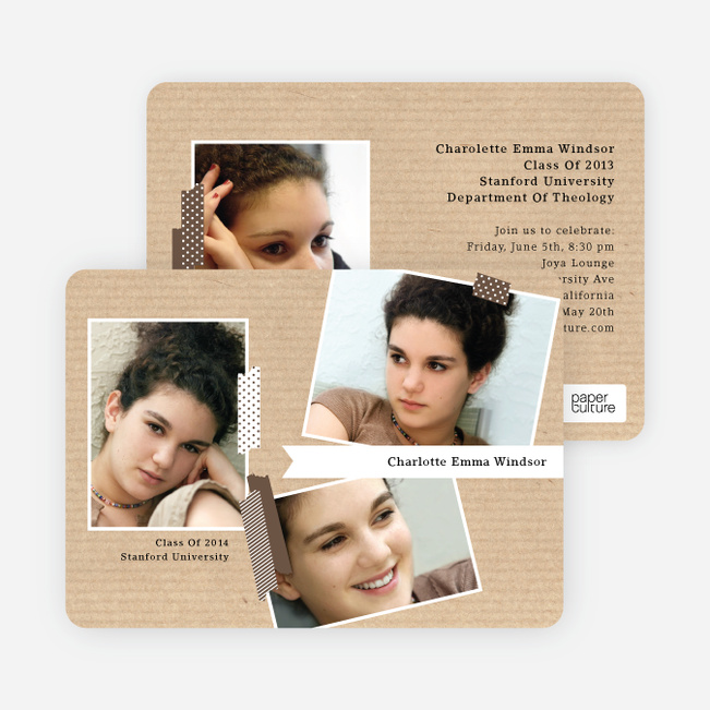 Professional Studio Multi Photo Graduation Cards - Brown