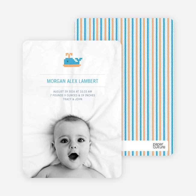 Photo Birth Announcements: Quilted Whale - Pale Blue