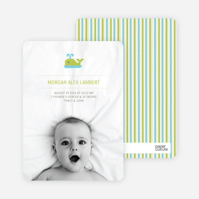 Quilted Whale Photo Birth Announcement - Pale Green