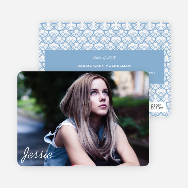Rippling Water Graduation Photo Announcements - Blue