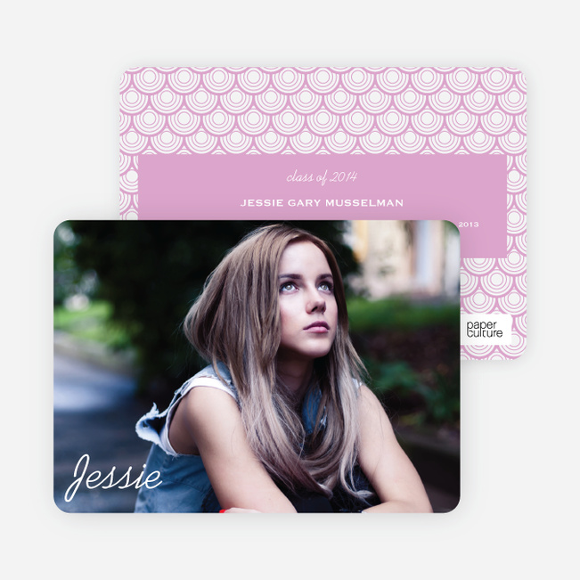 Rippling Water Graduation Photo Announcements - Pink