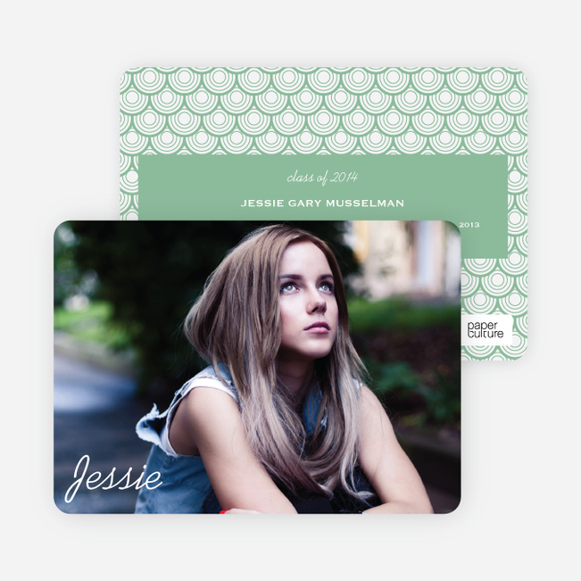 Rippling Water Graduation Photo Announcements - Green