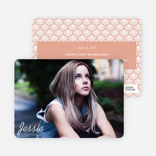Rippling Water Graduation Photo Announcements - Orange