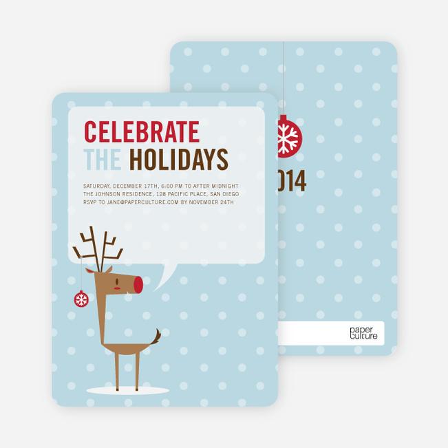 Rudolph's Ornament Holiday Invitations - Arctic Blue
