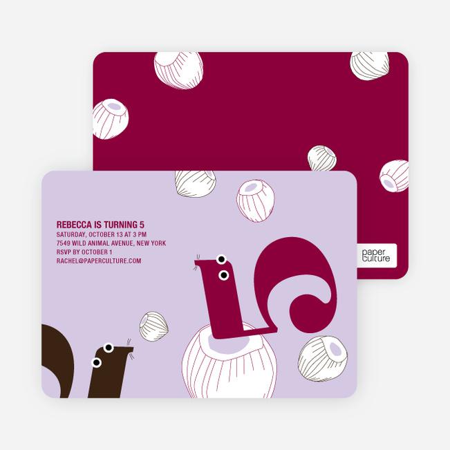 Sammy and Sally Squirrels' 5th Modern Birthday Invitation - Light Lilac
