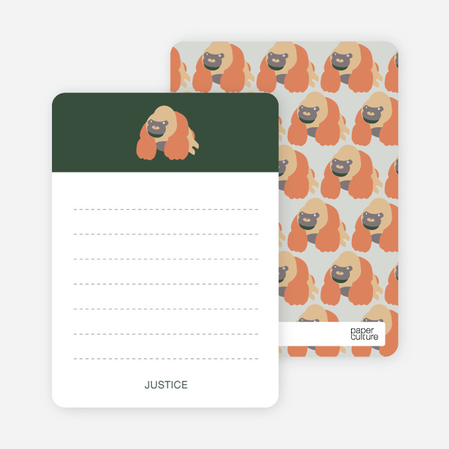 Stationery: 'King Kang Birthday Invite' cards. - Forest Green