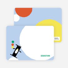 Stationery: 'Penguin #1' cards. - Ice Blue
