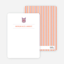 Stationery: 'Quilted Owl' cards. - Beige