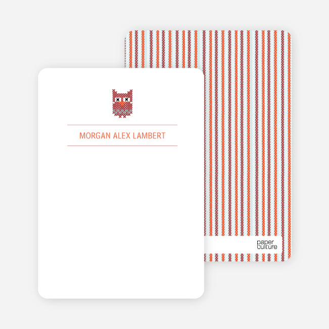 Stationery: 'Quilted Owl' cards. - Pale Blue