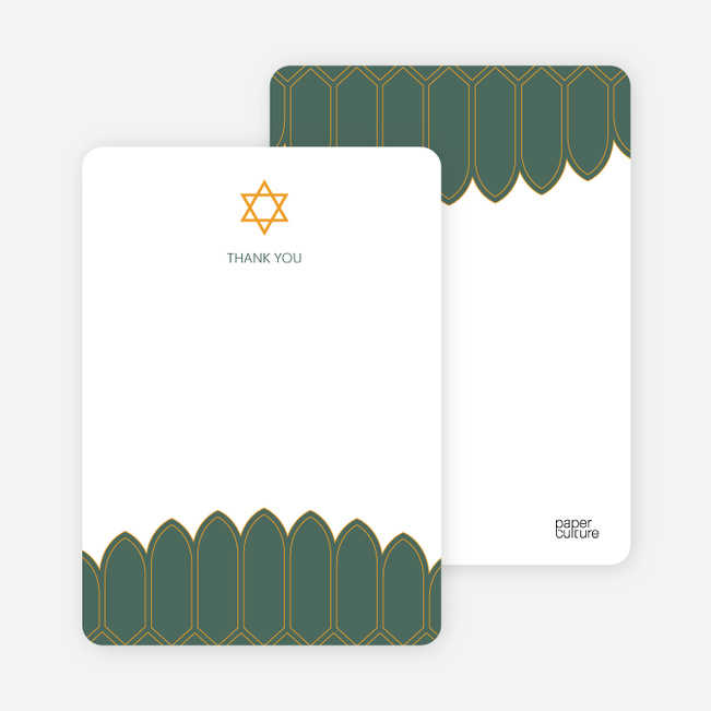 Stationery: 'Synagogue Bar and Bat Mitzvah Invitations' cards. - Sage Green