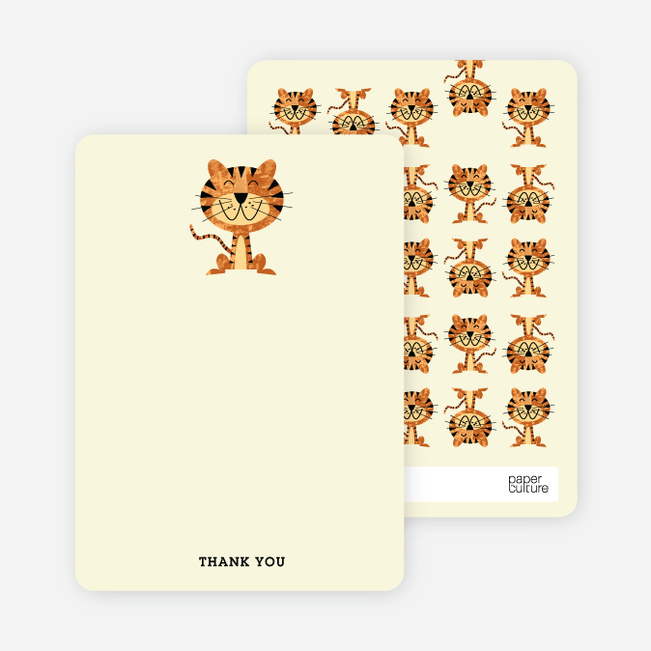 Stationery: 'Year of the Tiger Shower' cards. - Ecru