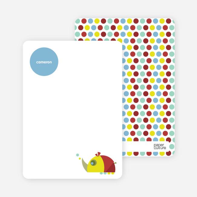 Stationery: 'Yellow Rhino' cards. - Yellow