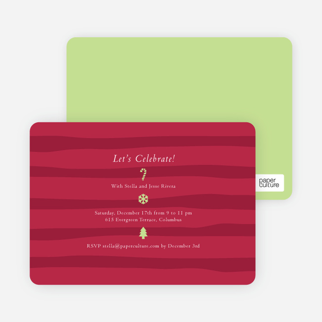 Striped Icons Holiday Invitations - Burgundy