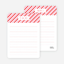 Thank You Card for Diagonal Stripes Modern Baby Announcement - Strawberry