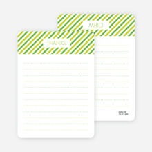 Diagonal Stripes: Thank You Cards - Apple Green