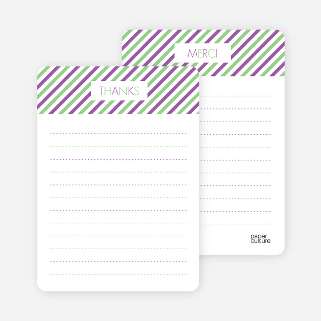 Thank You Card for Diagonal Stripes Modern Baby Announcement - Magenta
