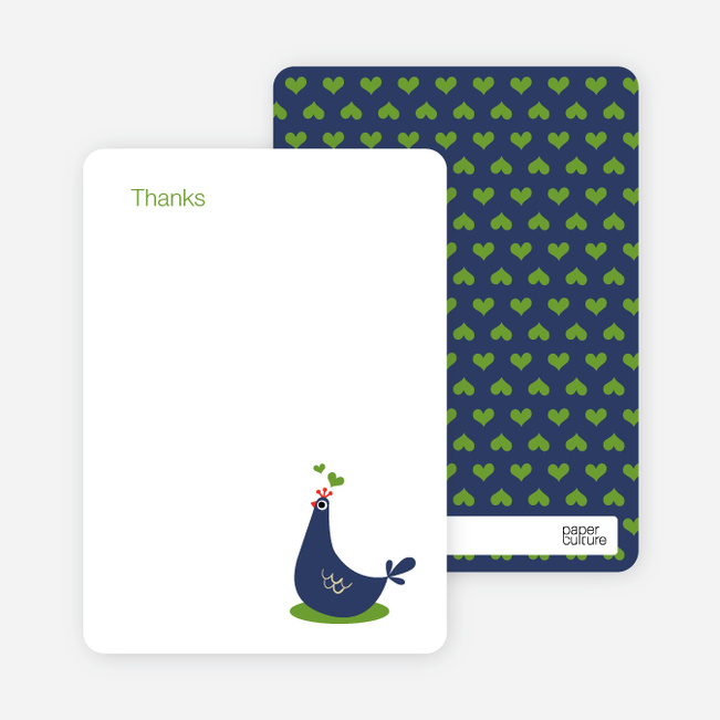 Thank You Card for Mother Pheasant Baby Shower Invitation - Blueberry