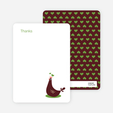 Thank You Card for Mother Pheasant Baby Shower Invitation - Chocolate