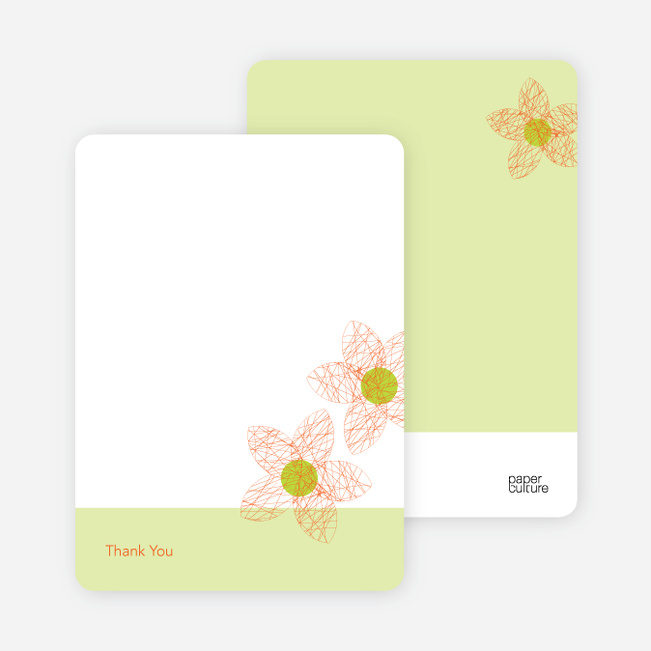 Thank You Card for Spriograph Flowers Bridal Shower Invitations - Orange Sherbet